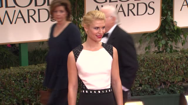 claire danes at 69th annual golden globe awards arrivals on january 15 2012 in beverly hills california - claire danes stock videos and b-roll footage