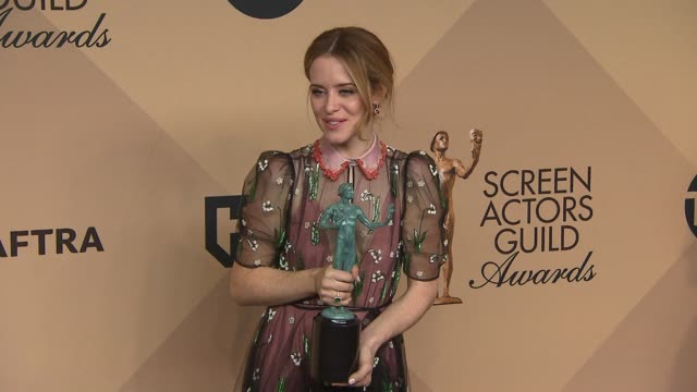 Claire Foy at 23rd Annual Screen Actors Guild Awards Press Room Photo Room at The Shrine Expo Hall on January 29 2017 in Los Angeles California