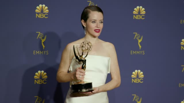 Claire Foy at the 70th Emmy Awards Photo Room at Microsoft Theater on September 17 2018 in Los Angeles California