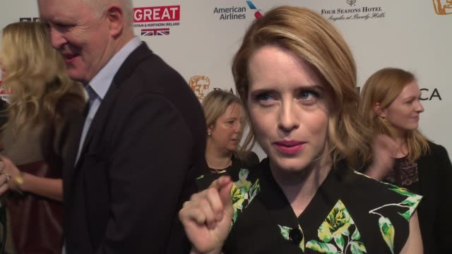 INTERVIEW Claire Foy jokes that she has been drinking a lot of tea lately On working on 'The Crown' on the reception its had at 2017 BAFTA Los...