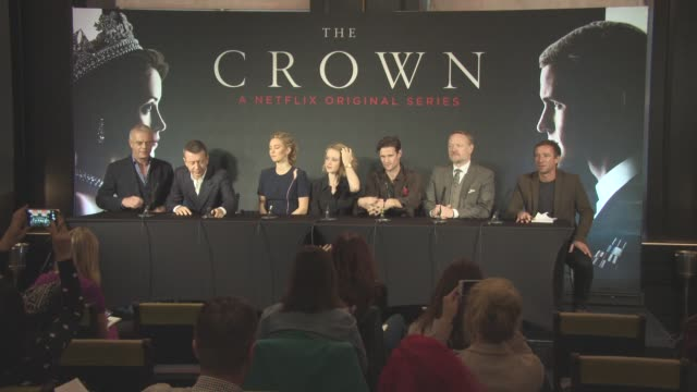 Claire Foy Matt Smith Jared Harris Vanessa Kirby Peter Morgan Stephen Daldry at 'The Crown' Press Conference on November 01 2016 in London England