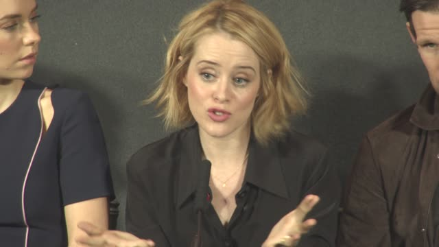 INTERVIEW Claire Foy Matt Smith on how to approach playing Queen Elizabeth finding the voice the movement playing Prince Philip at 'The Crown' Press...