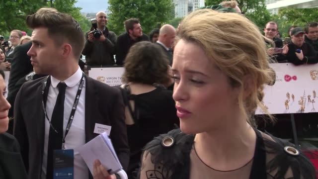 interview claire foy on her recent role and respect for the duke of edinburgh at the royal festival hall on may 14 2017 in london england - british academy television awards stock videos & royalty-free footage