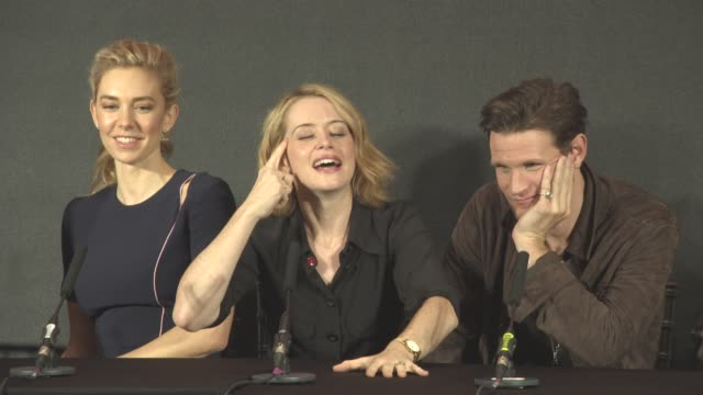 INTERVIEW Claire Foy on Queen Elizabeth watching the show having Netflix in Buckingham Palaces at 'The Crown' Press Conference on November 01 2016 in...