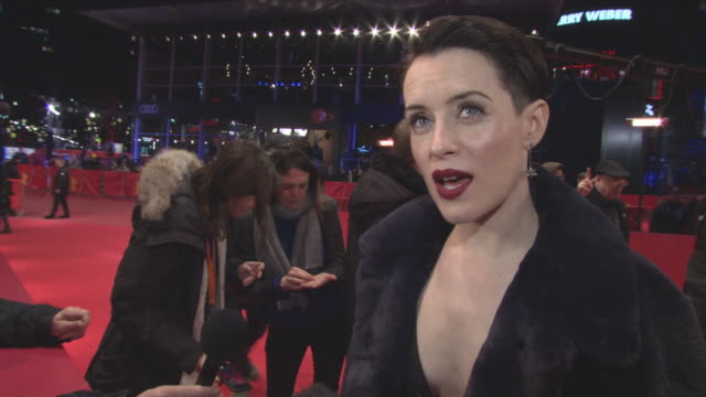 INTERVIEW Claire Foy on the filming experience what it was like filming with an iPhone at 68th Berlin Film Festival Unsane Red Carpet at Berlinale...