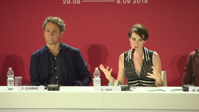 claire foy talks about getting to grips with the family dynamic at 'first man' press conference 75th venice international film festival at palazzo... - the family man film title stock videos & royalty-free footage
