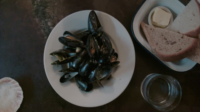 clam dish on table - seafood stock videos & royalty-free footage