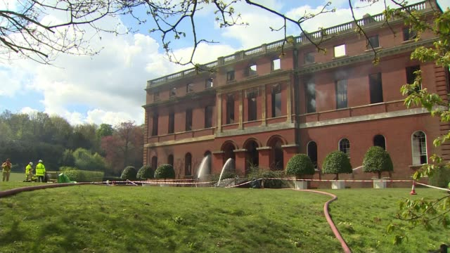 clandon park house fire; england: surrey: clandon park house: ext hoses running into shell of national trust mansion clandon park house, which has... - national trust video stock e b–roll