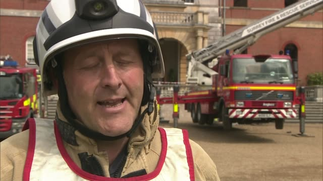 clandon park house fire: salvage operation; andrew treasure interview sot/ high angle shot of fire-damaged clandon park house - リチャード・パロット点の映像素材/bロール
