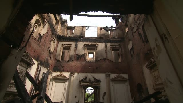 clandon park house fire: salvage operation; england: surrey: clandon park house: int various of fire-damaged interior of national trust mansion... - national trust video stock e b–roll
