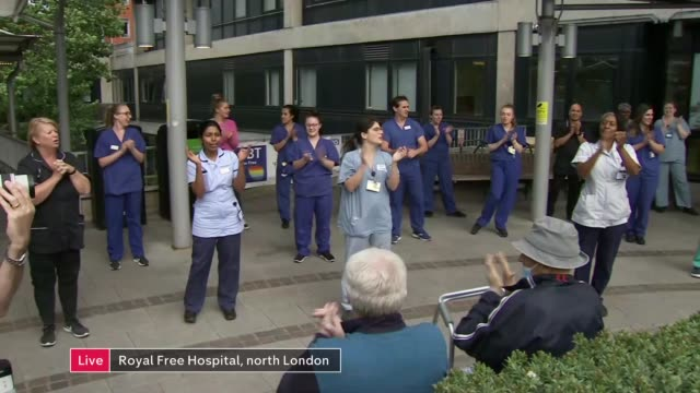 'clap for carers' marks 72nd anniversary of the nhs england london gir int dr matthew morgan and francis fernando live 2way interviews sot ext live... - politics stock-videos und b-roll-filmmaterial