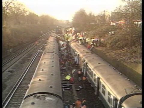clapham rail disaster trial cf tape no longer available england airv wrecked trains and emergency services tx london at scene of crash itn clapham... - train crash stock videos and b-roll footage