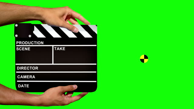 clapper board with tracking marker - green screen - slapstick stock videos & royalty-free footage