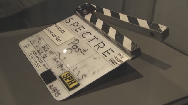 atmosphere clapperboard used on set at the cars of 'spectre' exhibition at the london film museum on november 17 2015 in london england - spectre 2015 film stock videos and b-roll footage