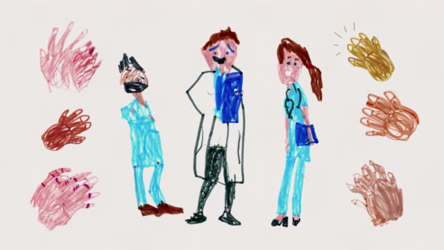 clapping nurses and doctors - animated child's drawing - stationary stock videos & royalty-free footage