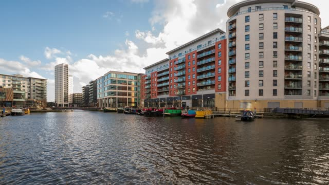 clarence dock in leeds, yorkshire - 4k time-lapse - leeds stock videos & royalty-free footage
