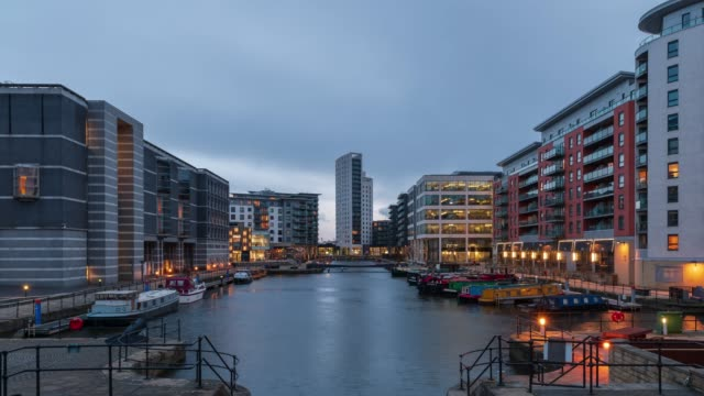 clarence dock in leeds, yorkshire - day to night 4k time-lapse - leeds stock videos & royalty-free footage