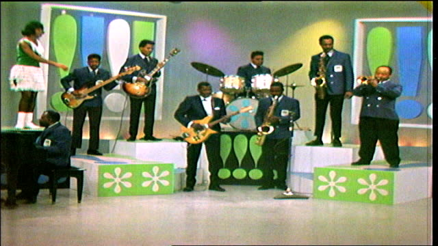 """clarence """"gatemouth"""" brown and the bluebeats perform unidentified instrumental, joined by young adult african-american female dancers. - television show stock videos & royalty-free footage"""