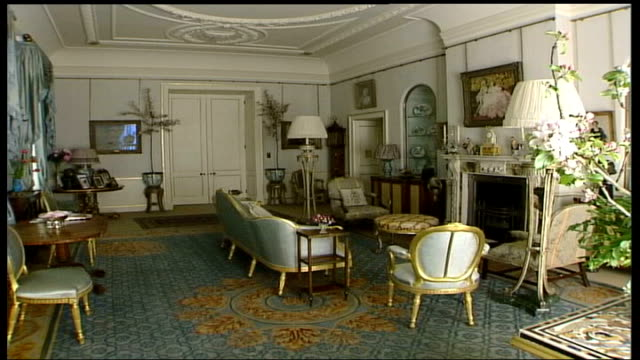 london clarence house clarence house with wooden boards set up at side int gvs small furnished reception room in clarence house cs painting of queen... - hanging up stock videos & royalty-free footage
