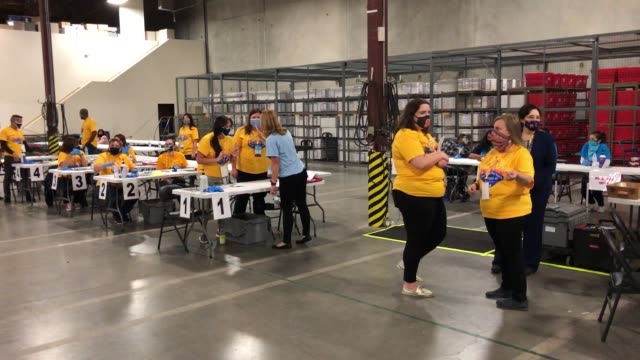 clark county election department workers process polling place equipment and materials at the clark county election department after polls closed on... - joe 03 stock videos & royalty-free footage