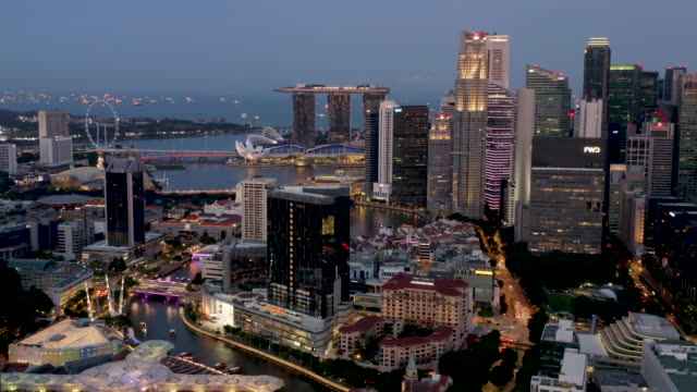 clarke quay & marina bay aerial dusk - river singapore stock videos & royalty-free footage