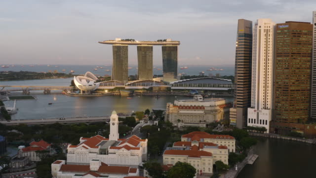 clarke quay & marina bay aerial sunset - river singapore stock videos & royalty-free footage