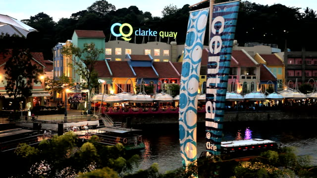 WS Clarke Quay on Singapore river at dusk / Singapore