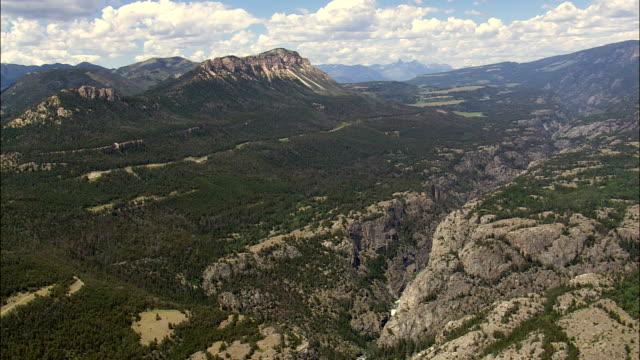 Clarks bifurcación río Yellowstone-Vista aérea-Wyoming, Condado del parque, Estados Unidos