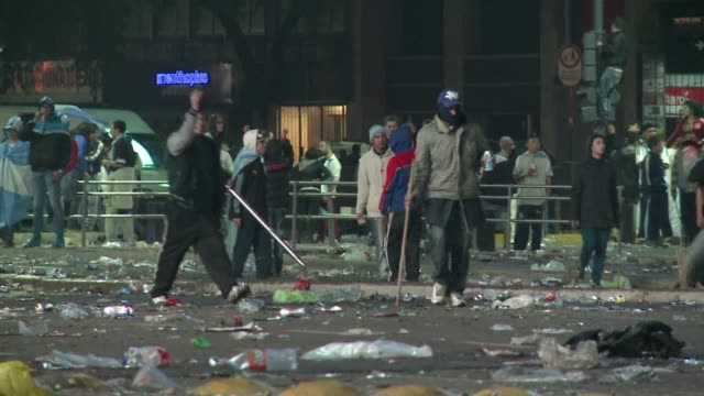 clashes broke out in buenos aires on sunday night after argentina lost 0-1 to germany in the world cup final - defeat stock videos & royalty-free footage