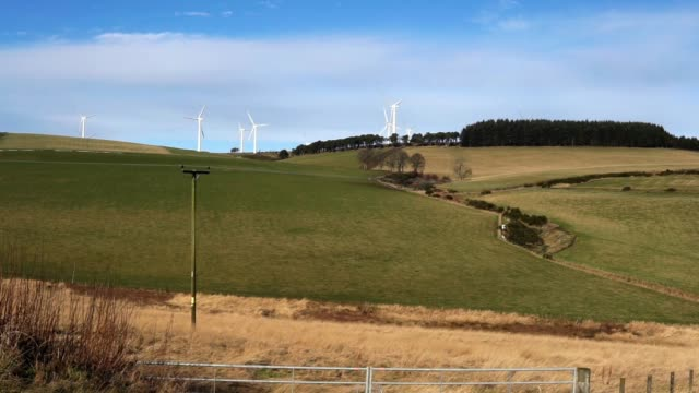 clashindarroch wind farm, huntly, aberdeenshire, scotland, uk, tracking shot - tracking shot stock videos & royalty-free footage