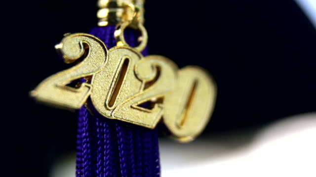 class of 2020 graduation ceremony tassel black - tassel stock videos & royalty-free footage