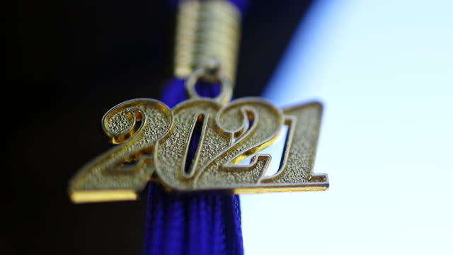 class of 2021 graduation ceremony tassel black - tassel stock videos & royalty-free footage