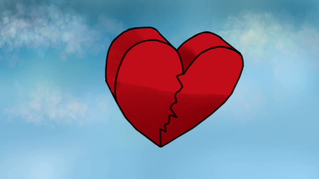 Classic animation. Broken heart falling down from the sky