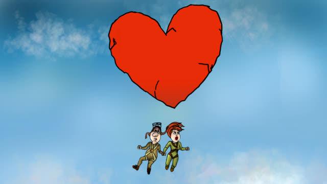 vidéos et rushes de animation classique. couple sous le poids de l'amour - parachute