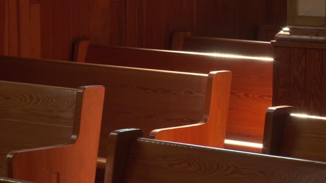 Classic bench church in a church