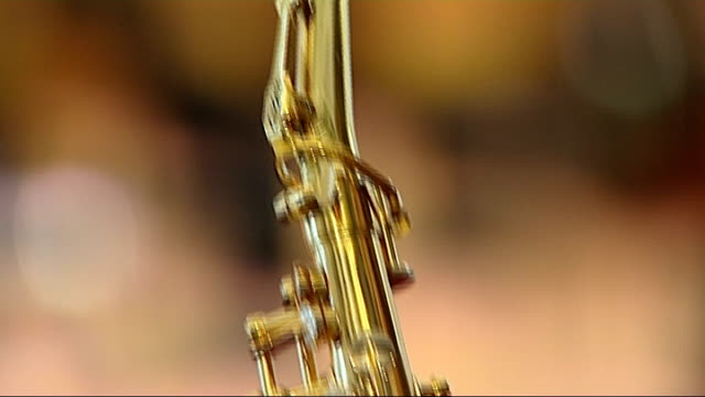 saxophonist wins breakthrough award royal college of music reporter and amy dickson into room close shot saxophone held by dickson amy dickson... - musical instrument stock videos & royalty-free footage