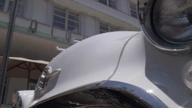 classic car and art deco architecture on ocean drive, south beach, miami, florida, united states of america, north america - collector's car stock videos and b-roll footage