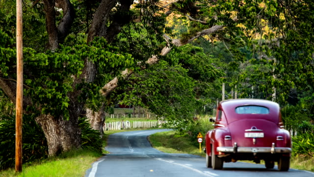 classic car driving on rural cuban road - collector's car stock videos and b-roll footage