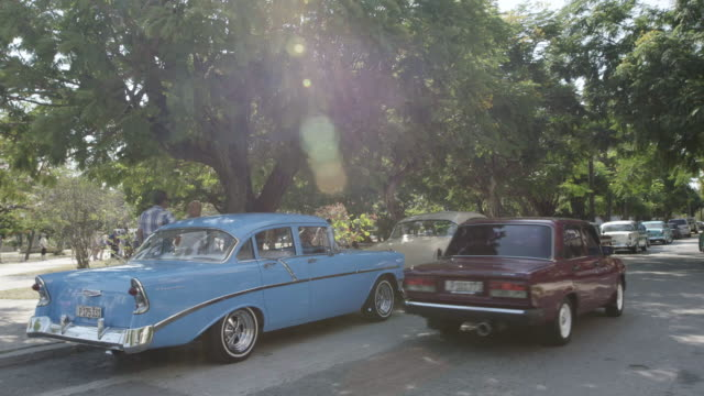 Classic cars parked in Cuba
