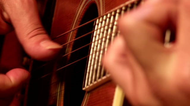 classic gitar player close up - fretboard stock videos and b-roll footage