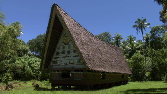 vídeos de stock e filmes b-roll de a classic palau cultural house features a thatch roof and foundation on stilts - telhado de palha