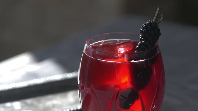 classic prohibition cocktail, blackberry bramble or blackberry side car - garnish stock videos & royalty-free footage