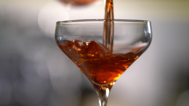 classic prohibition manhattan or negroni cocktail - cherry stock videos & royalty-free footage