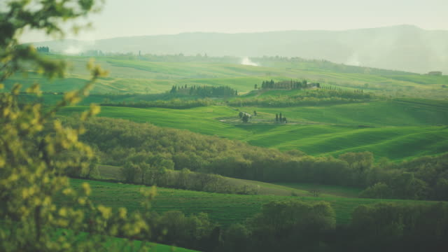 Classic Tuscan view: green hill and cascina
