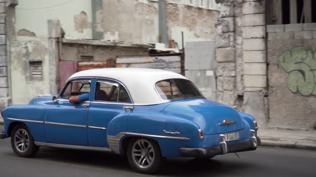 Classic vintage cars on streets of Havana, Cuba