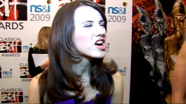 classical brit awards 2009: nominations launch; faryl smith interview sot - on getting star struck at events / excited to meet hollyoaks cast /... - スーザン ボイル点の映像素材/bロール