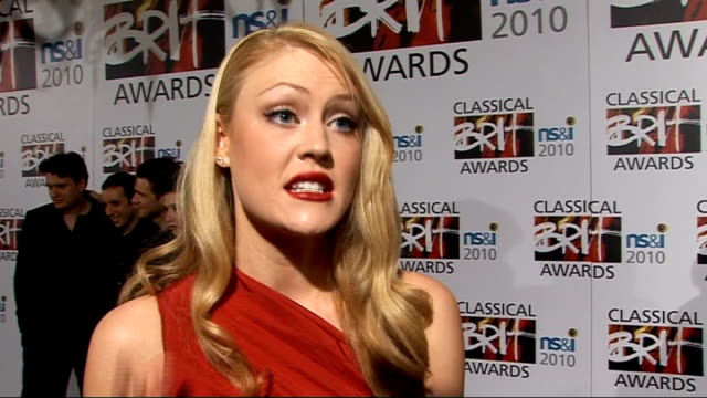classical brit awards 2010: nominations launch; camilla kerslake interview sot - on her outfit / being nominated / how her life has changed / having... - take that stock videos & royalty-free footage