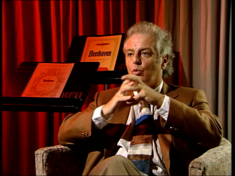 daniel barenboim interview england london int daniel banreboim interview sot discusses forthcoming performance of beethoven cycle at royal festival... - royal festival hall stock videos & royalty-free footage