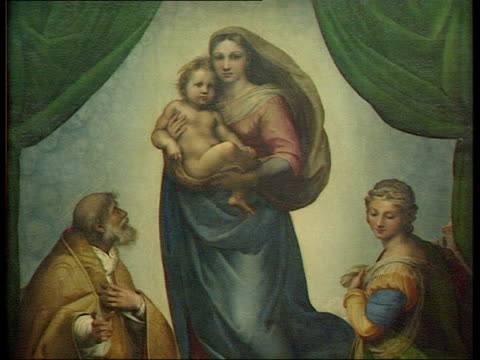 classical music painting of raphael's mistress painting 'sistine madonna' carol plazzotta talking about raphael' sot there is such intimacy/ very... - raphaël haroche stock videos & royalty-free footage