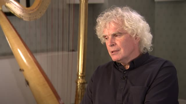 sir simon rattle interview / london symphony orchestra rehearsing england london int sir simon rattle interview sot re appointment as music director... - london symphony orchestra stock videos & royalty-free footage